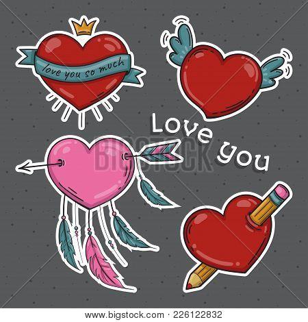 Set Of Hearts. Love You Symbols. Dreamcatcher Pencil Crown Wings. Vector Illustration