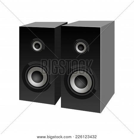 Realistic Black Loudspeakers Perspective View. Vector. Speaker Sign