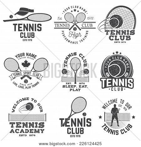 Set Of Tennis Club Badges. Vector Illustration. Concept For Shirt, Print, Stamp Or Tee. Vintage Typo