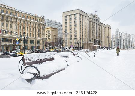 Moscow, Russia - Febraury 5, 2018: Manege (manezhnaya) Square In Winter In Moscow. Manege Square Is