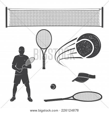 Set Of Tennis Equipment Silhouettes. Vector Illustration. Collection Include Tennis Racket, Balls, T