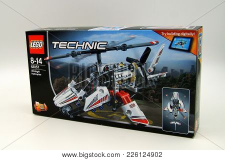 Amsterdam, The Netherlands - February 11, 2018: Lego Technic Ultralight Helicopter Retail Box Agains