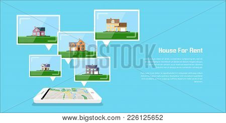 Picture Of A Smartphone With House Icons, House For Rent, House Selection Concept, Flat Style Illust