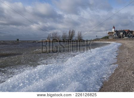 Drift Ice On The Beach At The Former Island And Fishing Village Urk In The Netherlands