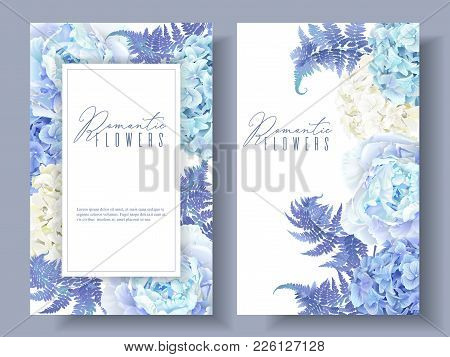 Vector Botanical Banners With Blue Peony, Hydrangea And Fern. Floral Design For Natural Cosmetics, P