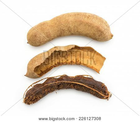 Compare Tamarind Top View Isolated On White Background Indian Dates In A Brittle Shell, Hollow Shell