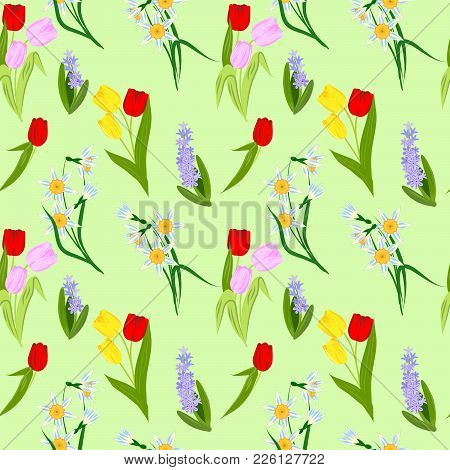 Seamless Pattern With Spring Flowers, Bright Blooming Tulips, Daffodils And Hyacinths, Vector Illust