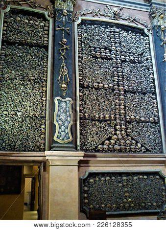 Skulls In The San Bernardino Alle Ossa Church In Milan, Italy