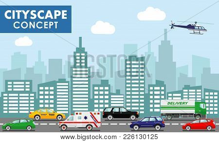 Cityscape Concept. Urban Traffic Horizontal Banner With Different Colorful Automobiles On Road And M