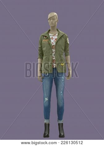 Full-length Female Mannequin Wearing Military Jacket, Isolated. No Brand Names Or Copyright Objects.