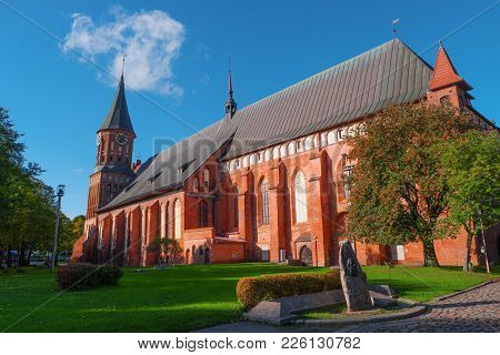 Gothic Cathedral, Kant Island, Kaliningrad, Russia. Popular Landmark, Famous Travel Destination. Cen