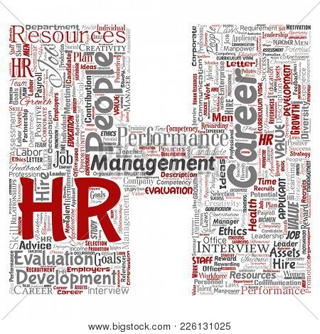 Concept conceptual hr or human resources career management letter font H word cloud isolated background. Collage of workplace, development, hiring success, competence goal, corporate or job