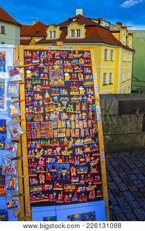Prague, Czech Republic - December 31, 2017: Large Group Of Fridge Magnets At Prague, Czech Republic