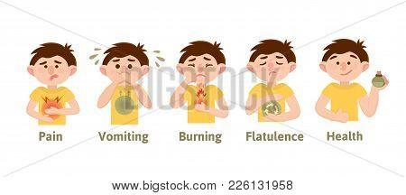 Heartburn, Heaviness, Belching, Nausea, Flatulence, Bloating, Pain. Infographics. Vector. Cartoon Ch