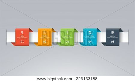 Infographic Timeline Template In The Form Of Colored Paper Tapes. Vector Banner With 5 Options, Step