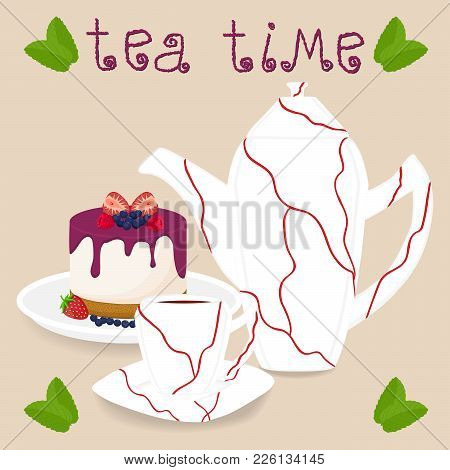 Vector Illustration Logo For Ceramic Cup, White Teapot, Teacup On Saucer, Berry Cheesecake. Teacup P