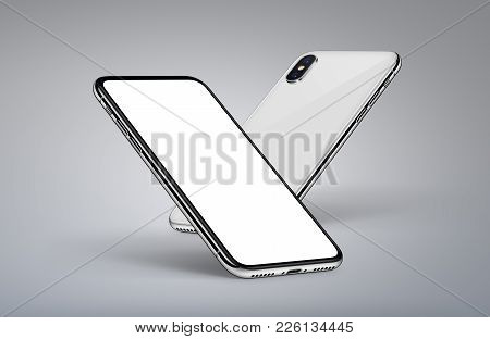 iPhone X style perspective smartphones mockup. Smartphone front side with blank white screen and smartphone back side behind it. High detailed realistic illustration. 3D illustration.
