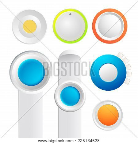 Set Of Toggle Buttons Collection With Colorful Round Things And Strips Of Board On The White Backgro