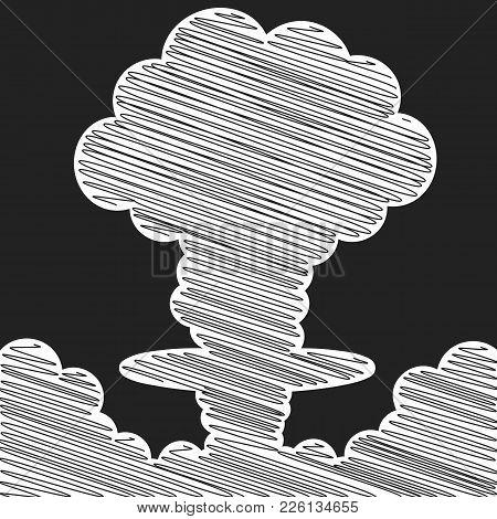 Cartoon Comic Style Nuclear Mushroom Cloud Illustration. Atomic Explosion Vector Clip Art.