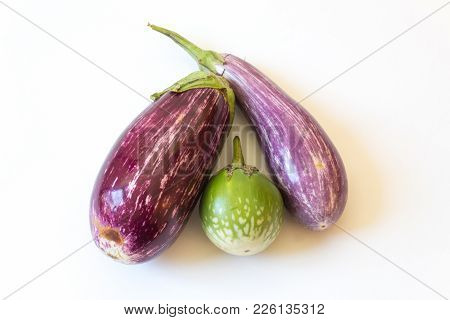 Overhead View Of Thai And Dominican Eggplants Solanum Melongena Food Ingredients, Isolated On White,
