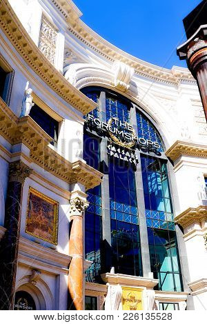 LAS VEGAS,USA - OCT 11 : The Forum shops in Las Vegas on October 11 2017 The mall connected to the C