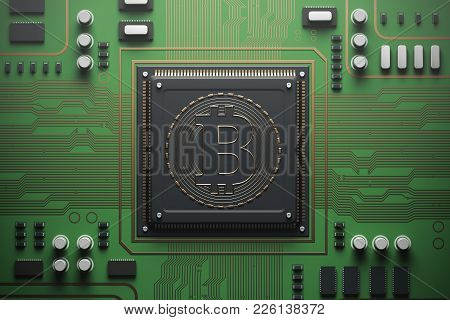 Green Circuit Board With A Processor On It. Concept Of Modern Technologies And Information. Top View
