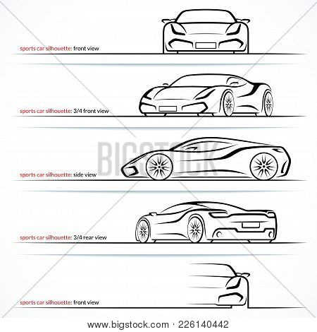 Modern Super Car, Sports Car Vector Silhouettes, Outlines, Contours Isolated On White Background. Fr