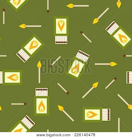 Seamless Pattern Of Matches Box Isolated On White Background. Matchbox And Burning Match For Camping