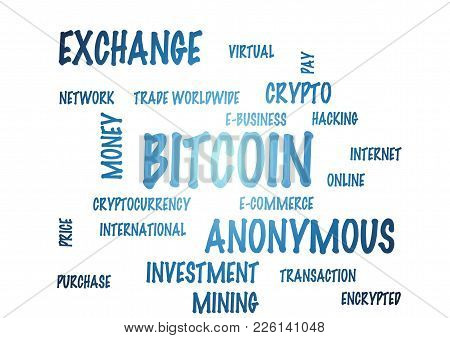 Word Cloud On A White Background - Bitcoin. 3d Illustration.