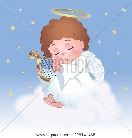 Cute Little Angel Playing Harp And Sitting On A Cloud