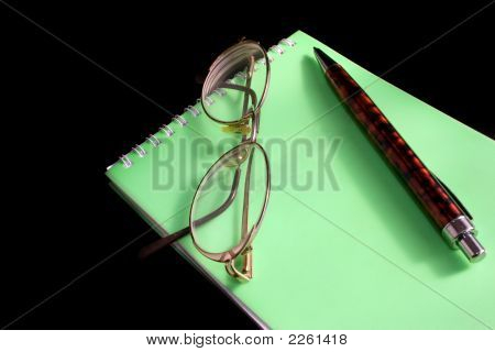 Glasses, Pen, Notebook