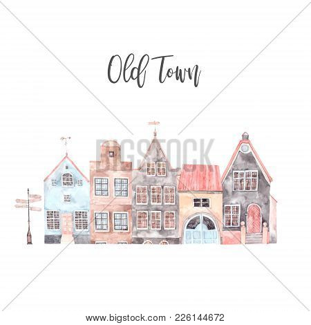 Watercolor Illustration. Old Town City. Cityscape - Houses, Buildings, Pointer. Estonia, Tallinn. Pe