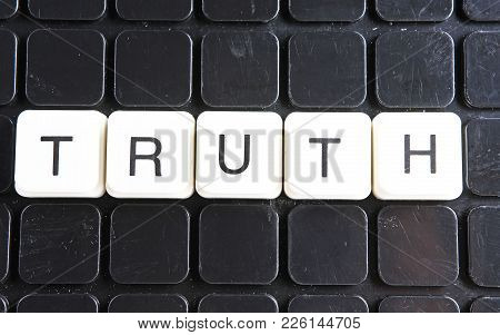 Truth Text Word Title Caption Label Cover Backdrop Background. Alphabet Letter Toy Blocks On Black R
