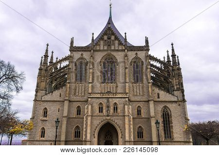 Gothic Facade Of St. Barbara Cathedral In Kutna Hora, Bohemia, Czech Republic.