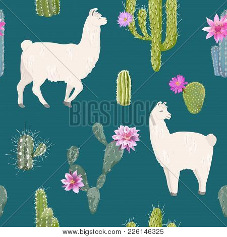Llama And Cactus Seamless Pattern. Lamas Wildlife Nature Background For Fabric, Wallpaper, Wrapping