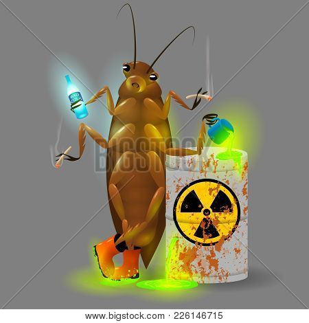 Vector Illustration. A Giant Cockroach Drinks A Radioactive Cola And Chemical Waste From A Rusty Bar