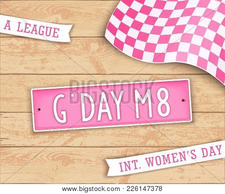 Festive Poster For Girls Day. 8th March. Abbreviation Slogan. Label In Style Car License Plate. Top