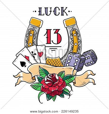 Tattoo Horseshoe With Playing Cards, Dice, Rose Andfatal Number 13. Good Luck Tattoo. Symbol Of Luck