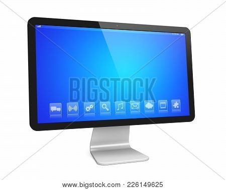 Desktop Pc Computer And A Blue Screen On Wide Monitor With Apps. Isolated On White. 3d Rendered Imag