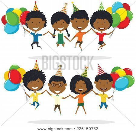Jumping African-american Boys And Boys Carrying Colorful Wrapped Gift Boxes And Bright Balloons. Hap