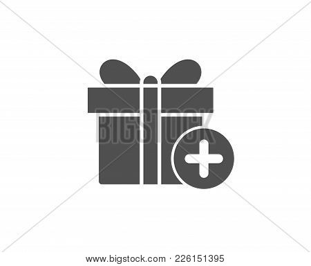 Add Gift Box Simple Icon. Present Or Sale Sign. Birthday Shopping Symbol. Package In Gift Wrap. Qual