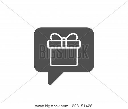 Dreaming Of Gift Simple Icon. Present Box Sign. Birthday Shopping Symbol. Package In Gift Wrap. Qual