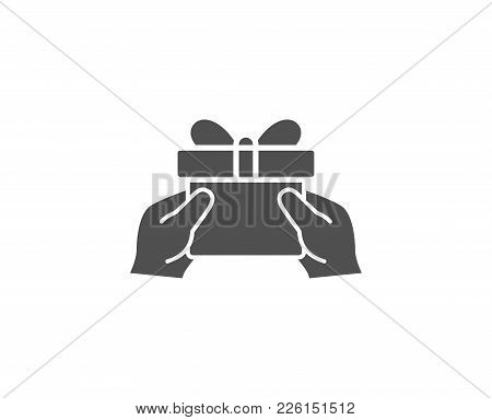 Give A Gift Box Simple Icon. Present Or Sale Sign. Birthday Shopping Symbol. Package In Gift Wrap. Q
