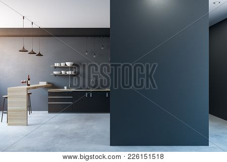 Modern Kitchen Interior With Copy Space On Wall. Mock Up, 3d Rendernig