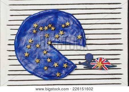 British Mouse Ate A Piece  Pizza, Concept  Disintegration European Union