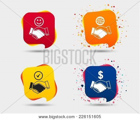Handshake Icons. World, Smile Happy Face And House Building Symbol. Dollar Cash Money. Amicable Agre