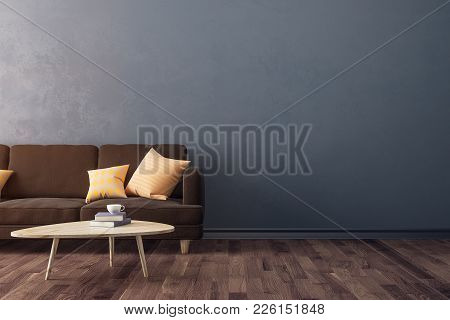 Modern Concrete Living Room Interior With Furniture And Copy Space On Wall. Design And Style Concept