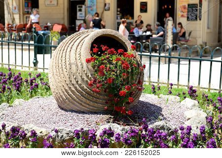 The Street Decoration And Tourists Are In Cafes In Kerkyra, Greece