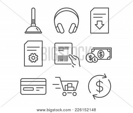 Set Of Shopping Cart, Credit Card And Dollar Money Icons. Plunger, File Settings And Download File S