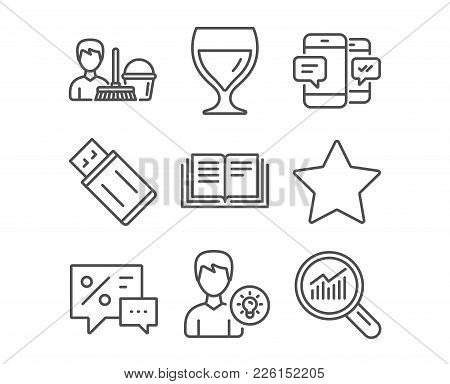 Set Of Smartphone Sms, Person Idea And Education Icons. Discounts, Wine Glass And Usb Flash Signs. C